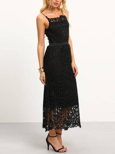 Hollow Out Lace Cami Dress - Black