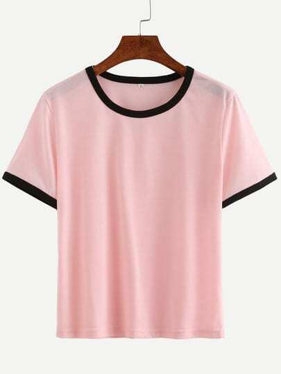 Pink Contrast Round Neck T-shirt