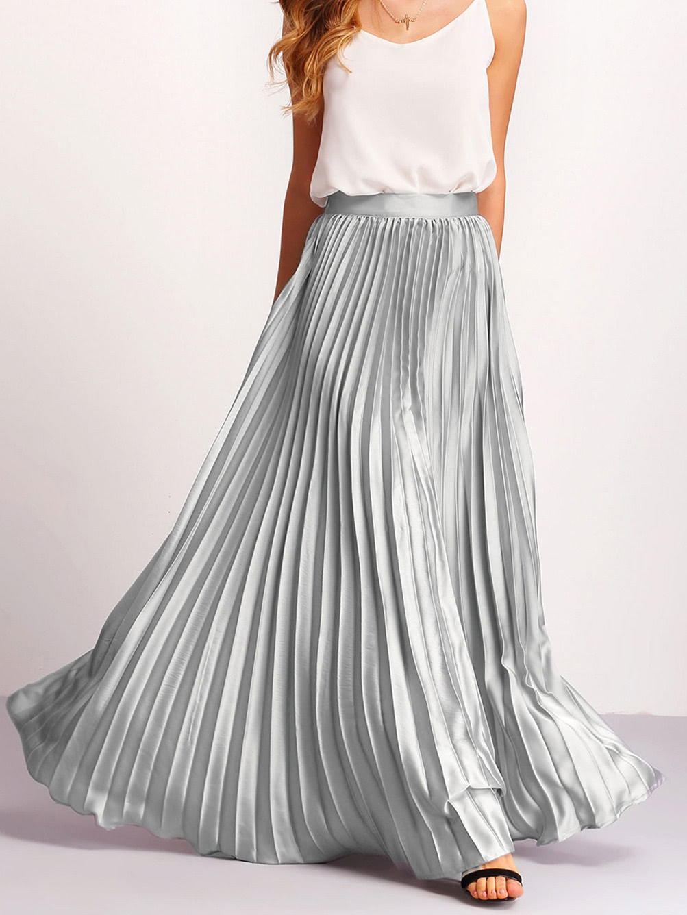 Silver Zipper Side Pleated Flare Maxi Skirt -SheIn(Sheinside)