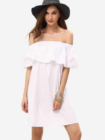White Off The Shoulder Ruffle Shift Dress