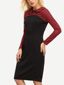 Black Red Lapel Houndstooth Buttons Dress