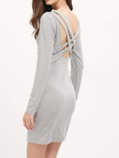 Grey Hollow Out Back Dress