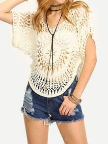 White Boat Neck Crochet Blouse