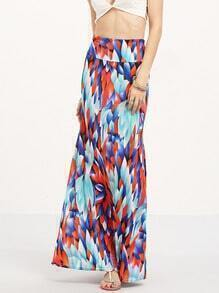 Multicolor Peacock Feathers Print Maxi Skirt