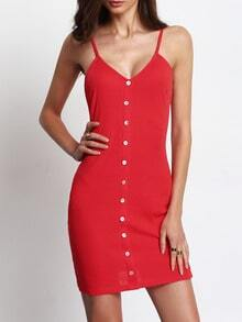 Watermelon Red Buttons Front Ribbed Spaghetti Strap Dress