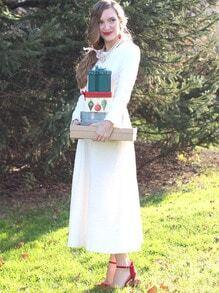 Long Sleeve Embossed Flare Dress -SheIn(Sheinside)