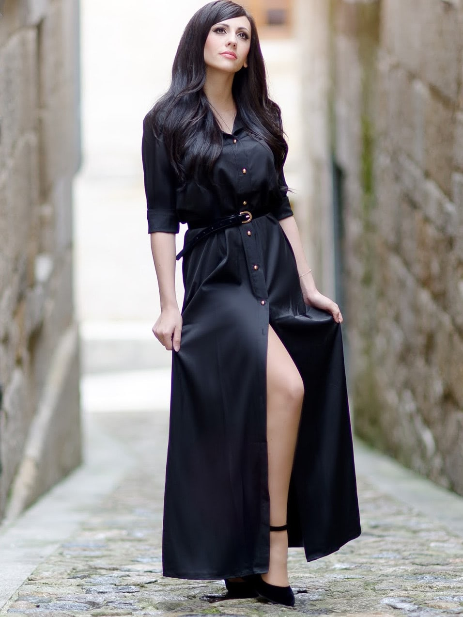 Informal Long Sleeve Split Maxi Dress