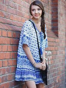 Blue Half Sleeve Tribal Print Babydoll Dress