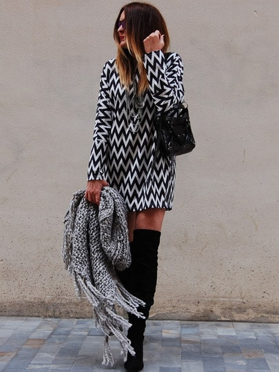 Black White Long Sleeve Geometric Print Dress