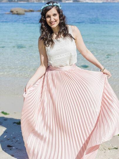 Pleated Full Length Skirt -SheIn(Sheinside)