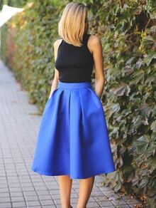 Blue Flare Pleated Midi Skirt