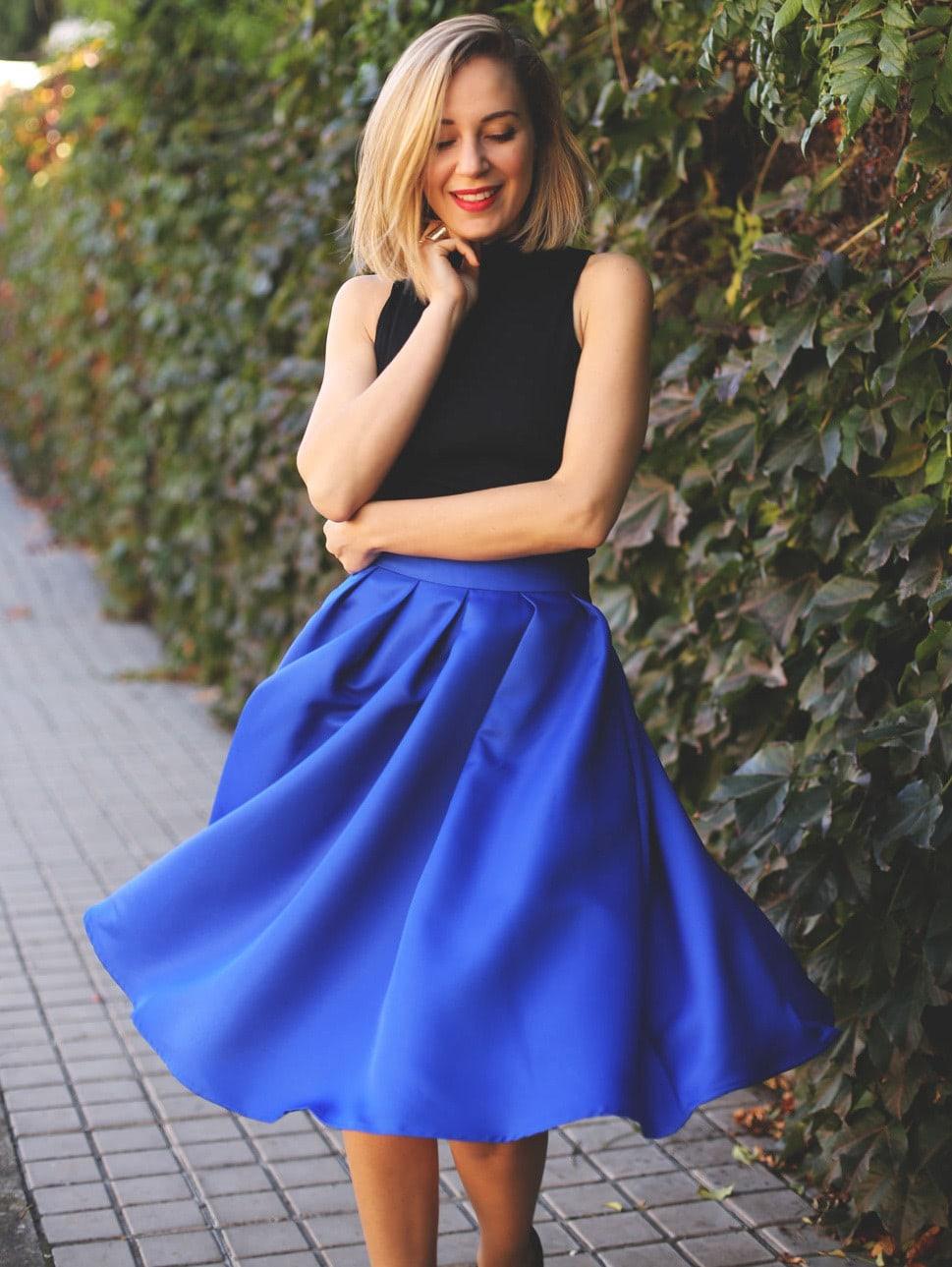 Flare Pleated Midi Skirt -SheIn(Sheinside)