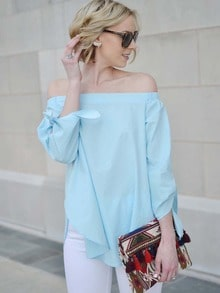 Blue Long Sleeve Style Off The Shoulder Blouse