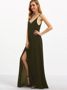 Spaghetti Strap Backless Split Maxi Dress