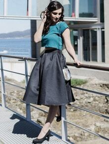 Black Flare Pleated Midi Skirt