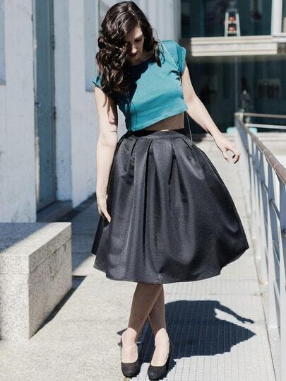 Black Flare Pleated Midi Skirt -SheIn(Sheinside)