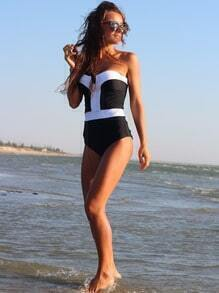 Black White V Wire Strapless Swimwear