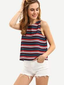 Multicolor Striped Hollow Tank Top