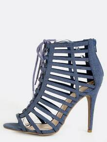 Denim Cut Out Stiletto Heels DENIM