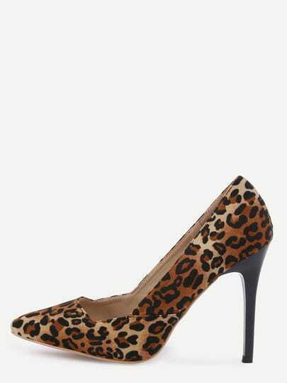 Leopard Faux Suede Pointed Toe Pumps
