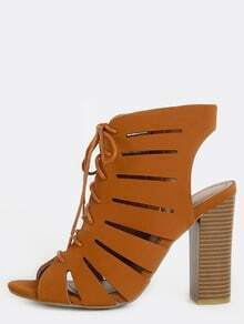 Lace Up Cut Out Ankle Booties CHESTNUT