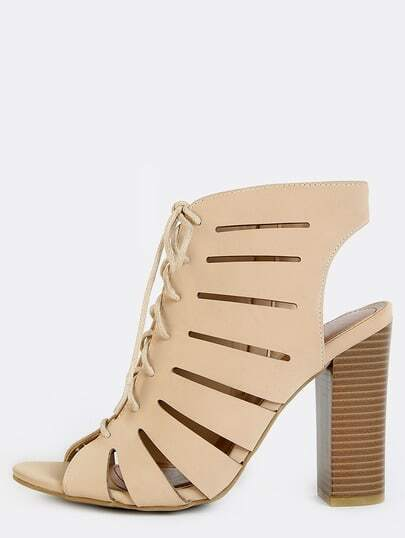 Cut Out Slit Stacked Heel Booties NUDE