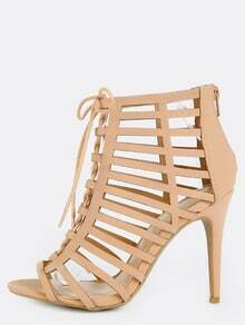 Open Toe Laser Cut Stiletto Heels BLUSH