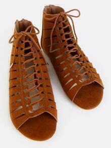 Faux Suede Cut Out Slit Sandals CHESTNUT