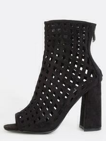 Peep Toe Cut Out Grid Ankle Boots BLACK