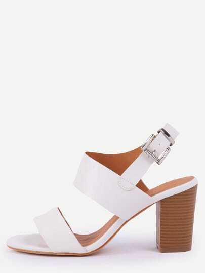 Wide Strap Stacked heel Sandals - White