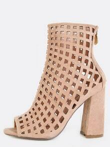 Cut Out Grid Chunky Heel Booties NUDE