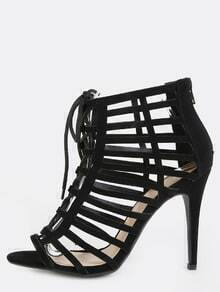 Caged Cut Out Stiletto Heels BLACK