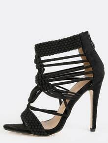 Woven Braided Stiletto Heels BLACK
