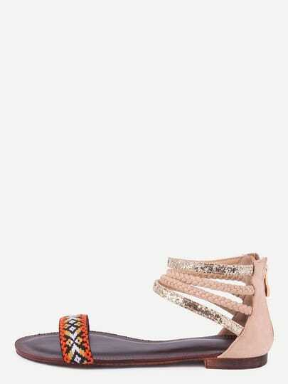 Apricot Geometric Pattern Zipper Ankle Strap Flat Sandals