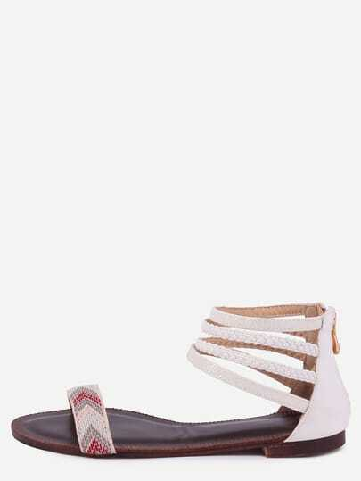 White Geometric Pattern Zipper Ankle Strap Flat Sandals