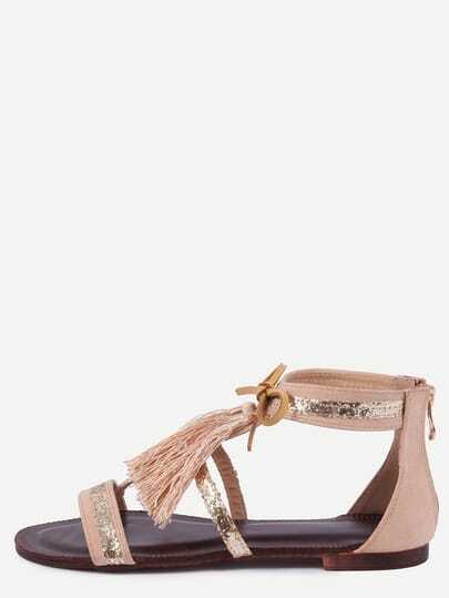 Apricot Fringe Flat Sandals