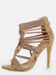 Braided Open Toe Stiletto Heels NUDE
