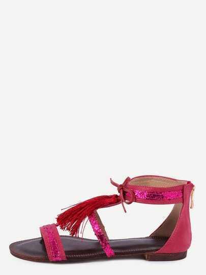 Red Fringe Flat Sandals