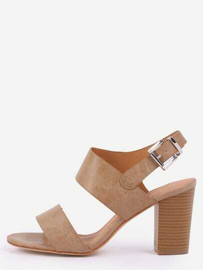 Wide Strap Stacked heel Sandals - Beige