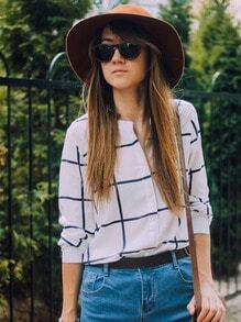 White Long Sleeve Checks Plaid Loose Blouse