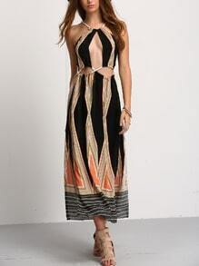Halter Cutout Geo Print Maxi Dress