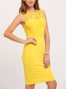 Yellow Sleeveless Patchwork Lace Sheath Dress