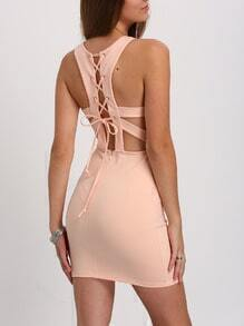 Pink Lace-up Tie Back Bodycon Dress