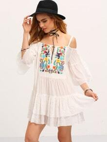 Begin Cold Shoulder Embroidered Ruffle Dress