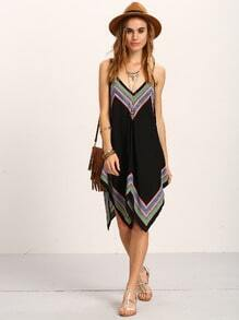 Tribal Print Asymmetric Cami Dress - Black