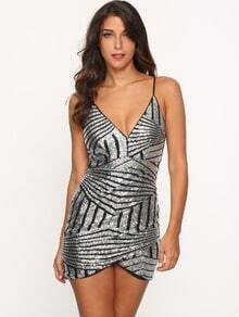 Silver Spaghetti Strap Sequined Bodycon Dress