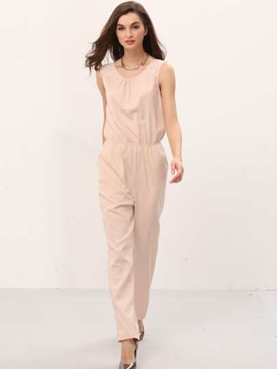 Pink V Back Pockets Sleeveless Jumpsuit