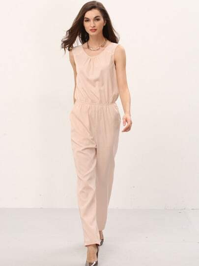 Pink V Back Pockets Sleeveless Jumpsuit