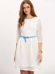 White Zippered Half Sleeve Hollow Striped Flare Dress