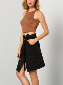 Black High Waist Split Skirt